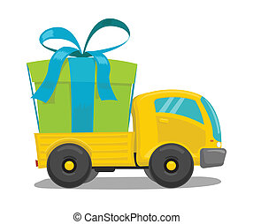 Vector truck with gift box