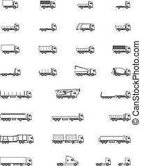 Vector trucks icons - Set of the different types of trucks ...