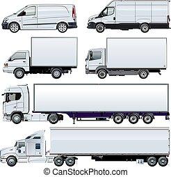 Vector trucks template isolated on white - Vector trucks...
