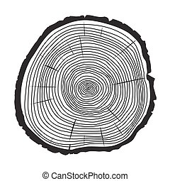 Vector Trunk and rings of Tree. Black Illustration.