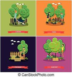 vector, tuinieren, concept, set, plat, banieren, landbouw, affiches, design.