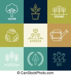 vector, tuinieren, logo, ontwerp onderdelen