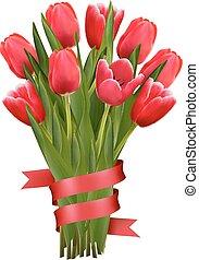 vector., tulips, fondo, ribbons., rosso, celebrazione