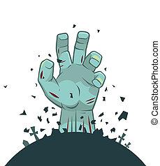 vector, tumba, zombi, mano, levantamiento