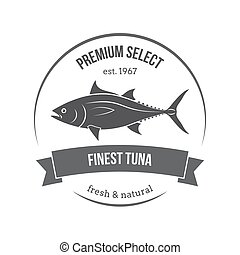 Vector tuna emblem, label. Template for stores, markets, food packaging. Seafood illustration.