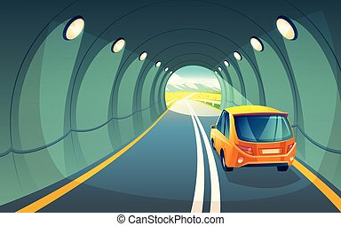 Vector tunnel with car, highway for vehicle