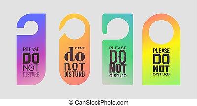 vector, turbar, percha, conjunto, plano de fondo, intimidad, doorhandle, hotel, ilustración, señal, etiqueta, fondo, cerrado, ahorcadura, no, puerta, mensaje, advertencia, tarjeta, habitación