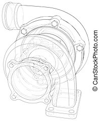 Vector turbocharger isolated. Vector illustration. Tracing illustration of 3d