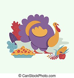 Vector turkey bird flat illustration isolated