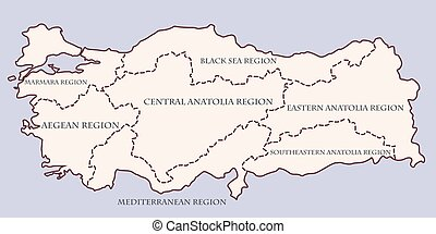 Turkey contour map with regions