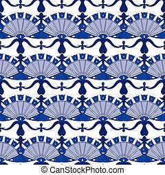 Vector Turkish Floral Stripes Seamless Pattern