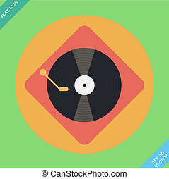 Vector turntable player icon. Flat design