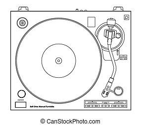 Vector turntable - Vector DJ turntable. One line graphics