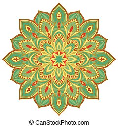 Vector turquoise mandala. - Vector filigree mandala isolated...