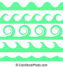 Vector turquoise waves set on white background.
