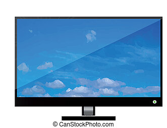 Vector tv - Vector lcd or plasma flat tv. Icon isolated over...