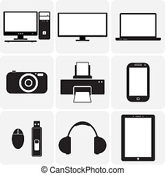 vector, tv, gadgets., &, deze, grafisch, icons(symbols), aantekenboekje, draagbare computer, gadgets, simplistic, anderen, black , digitale , illustraties, fototoestel, witte , elektronisch