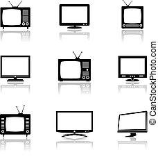 vector, tv, iconen, met, reflectie
