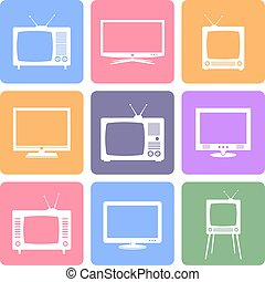 Vector TV icons set