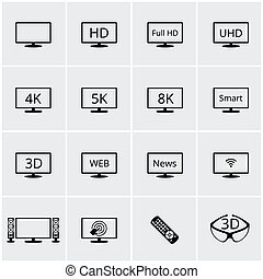 Vector TV icons set. Screen and television, display and video