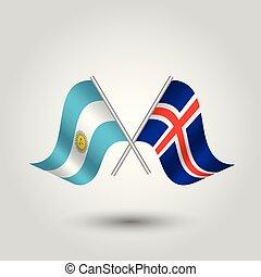 vector, twee, gekruiste, argentijn, en, ijslands, vlaggen, op, zilver, plakken, -, symbool, van, argentinië, en, ijsland