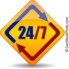 Vector twenty four seven sign