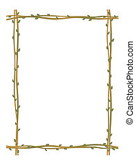 twig sprig frame pattern background - vector twig sprig...