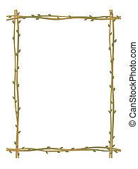 twig sprig frame pattern background - vector twig sprig...