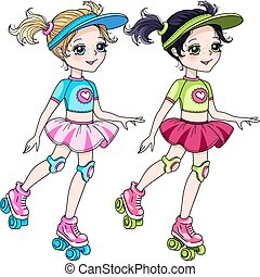 Vector cute blond and brunette baby girls in skirt rollerblading