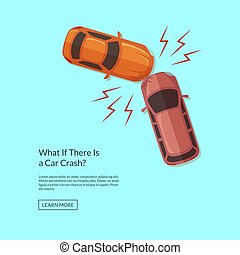 Vector two cars accident top view illustration