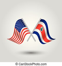 vector two crossed american and rican flags on silver sticks...