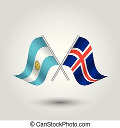 vector two crossed argentine and icelandic flags on silver sticks - symbol of argentina and iceland