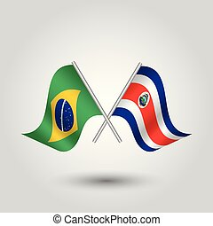 vector two crossed brazilian and costarican flags on silver ...