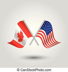 vector two crossed canadian and american flags on silver sticks - symbol of canada and usa united state of america