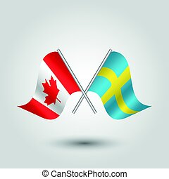 vector two crossed canadian and swedish flags on silver sticks - symbol of canada and sweden