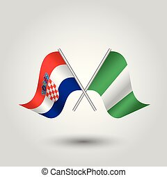 vector two crossed croatian and nigerian flags on silver...