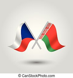 vector two crossed czech and belarusian flags on silver sticks