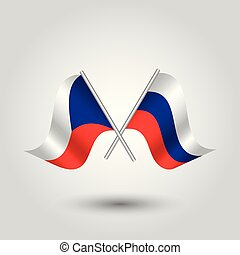 vector two crossed czech and russian flags on silver sticks