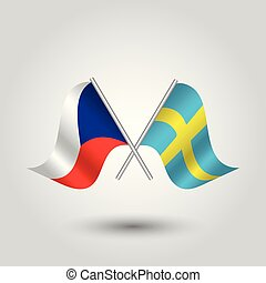 vector two crossed czech and swedish flags on silver sticks