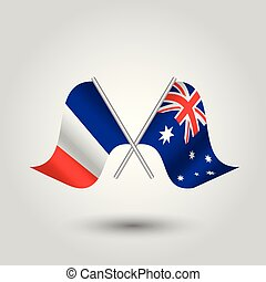 vector two crossed french and australian flags on silver sticks - symbol of france and australia