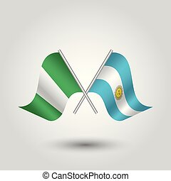 vector two crossed nigerian and argentine flags on silver...