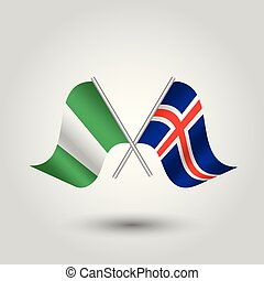 vector two crossed nigerian and icelandic. flags on silver...