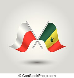 vector two crossed polish and senegalese flags on silver sticks - symbol of poland and senegal