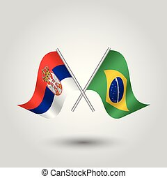 vector two crossed serbian and brazilian. flags on silver ...