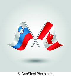 vector two crossed slevenian and canadian flags on silver sticks - symbol of slovenia and canada
