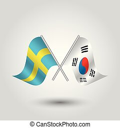 vector two crossed swedish and korean flags on silver sticks - symbol of sweden and south korea