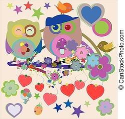 vector Two cute owls and bird on the flower tree branch