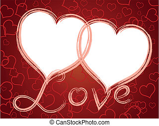 vector two hearts love frame pattern background
