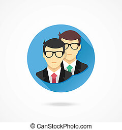 Vector Two Men Icon Teamwork Concep