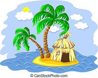 vector two palm trees and hut on an island in the ocean -...
